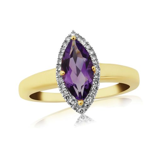 Marquise Cut Amethyst And Diamond Cluster Ring